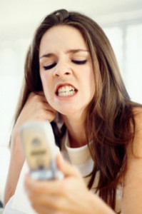 angry girl texting